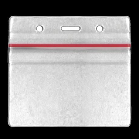Flexible Badge holder - Red Zipper - PBS/ZH
